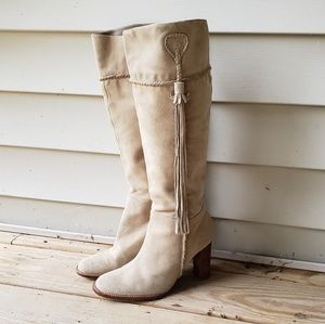 Suede tall tan or camel colored Nine West boots